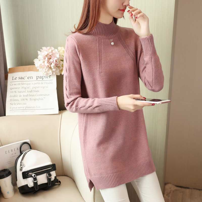 New  Fashion 2019 Women Autumn Winter  Embroidery Rabbit  Brand Long Sweater Dress Pullovers  Warm   Sweaters Pullover  Lady