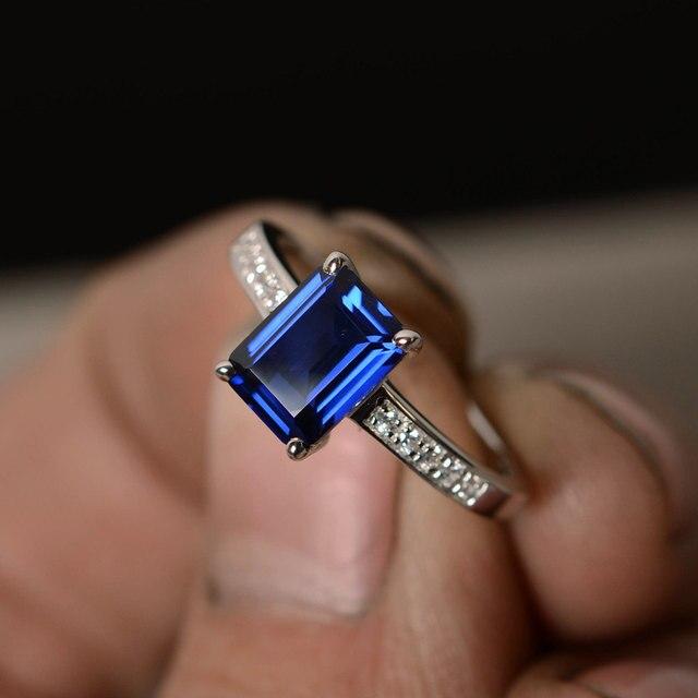 Simffvn Кольцо Для женщин S925 Стерлингового Серебра 2ct Сертифицированных cut Лаборатория Сапфир Кольцо Обручальное Обручальное мода bague