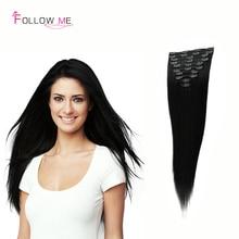 Brazilian Virgin hair clip human hair Extensions real clip in hair extension 120g african american clip in hair extensions