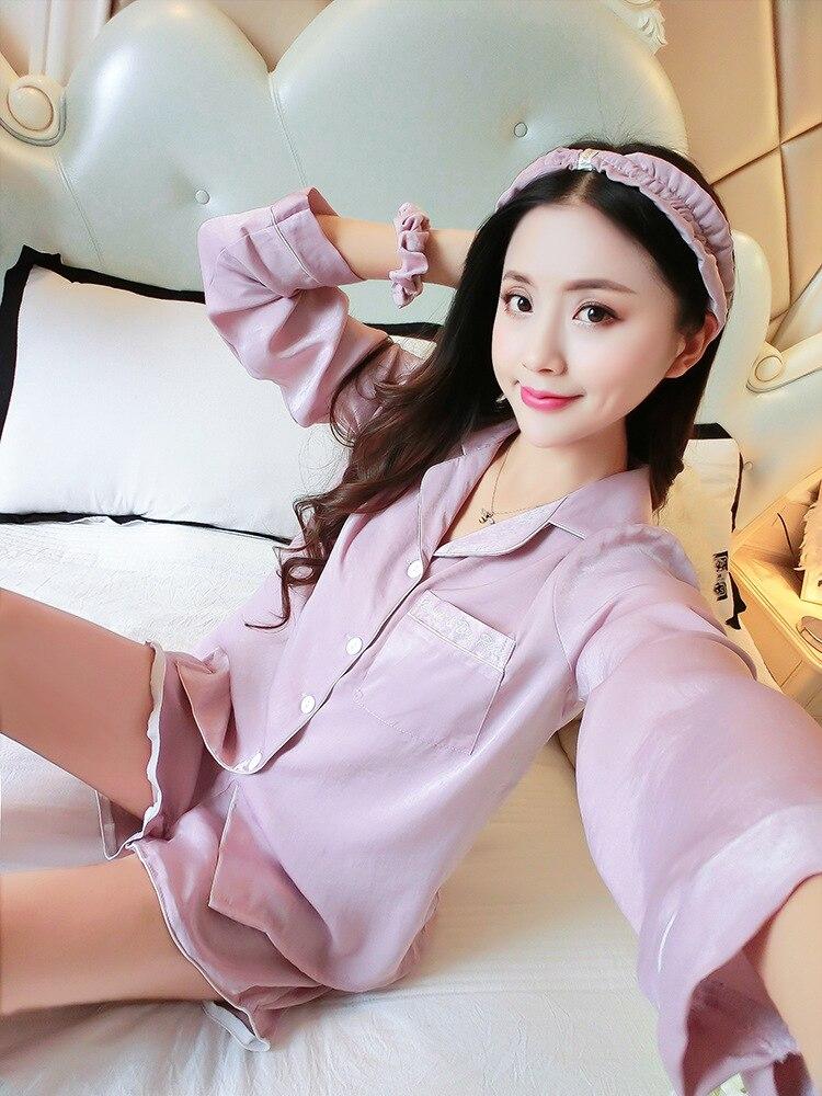 Queenral Women Silk Pajamas 7pcs Sets Pyjamas Set Women Underwear Home Clothes Sexy Pajamas For Women Night Suit Sleepwear  23