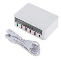 USB QC 3.0 Fast Charing Socket 5 USB Ports Rapid Charger Patch Panel UK/US/EU/AU AC 100 240V LCD Display Current Voltage