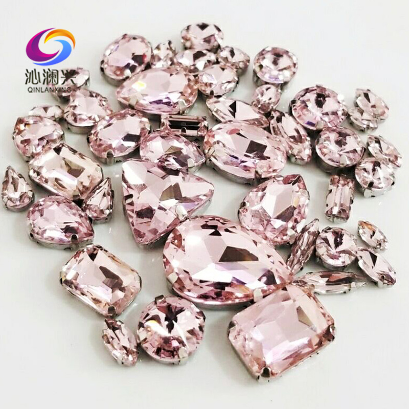 Free shipping 68pcs pink mix shape supe high quality glass crystal material sew on claw rhinestones,diy/Clothing accessorie