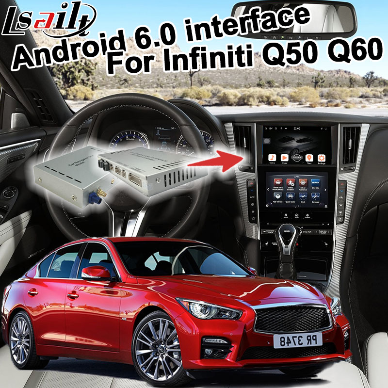 Android GPS navigation box for Infiniti Q50 Q60 video interface box with Carplay youtube quad core waze yandex rear view