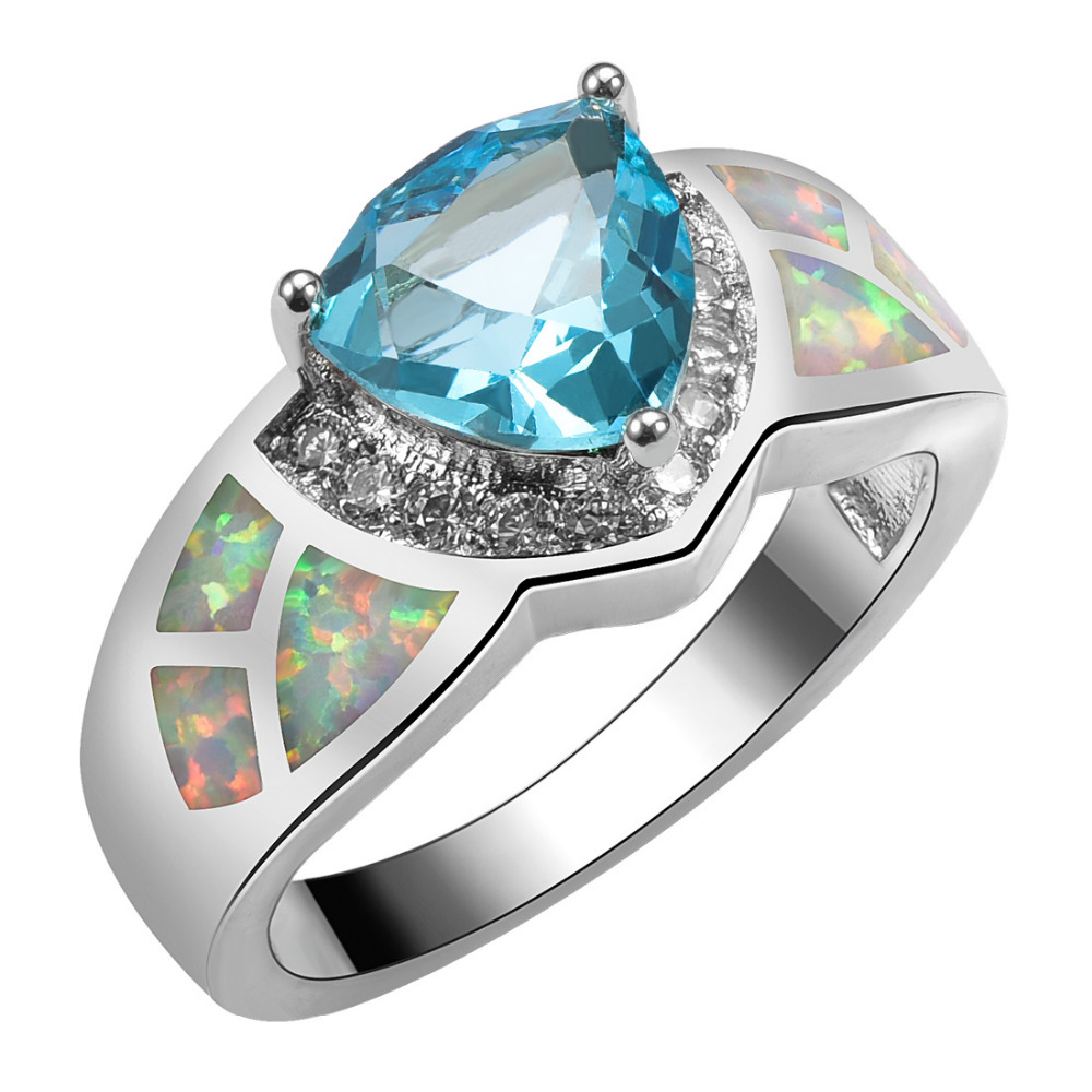 Created Simulated Aquamarine With White Fire Opal 925 Sterling Silver Size 6 7 8 9 10 R1532