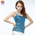 Women Stage Bling Sequins All Over Front Spaghetti Strap Tank Top Sexy Simple Clubwear V-Neck Camis