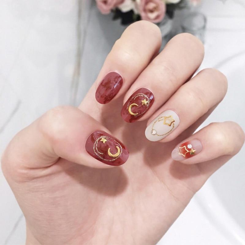 Medium Shining Rhinestone False Nail 3D Star Moon Blooming Color Nail Art Tips With Glue Women Korean Style Full Cover Fake Nail
