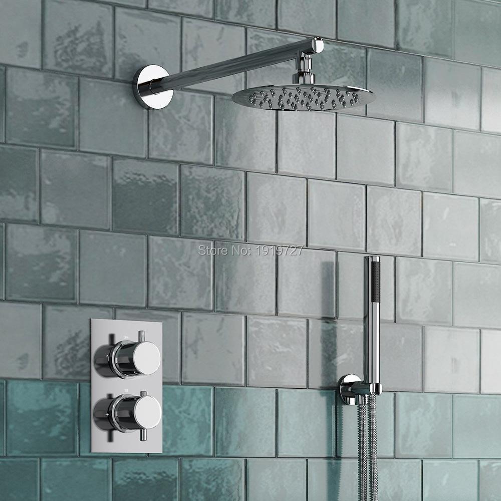 Круглый Стиль скрытый термостатический смеситель клапан ручной ванная комната продукт Ванна Душ Набор 2 набора 2 способа современные душевые системы