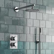 ラウンドスタイル隠さサーモスタットミキサーバルブハンドヘルド浴室製品バスシャワーセット 2 ダイヤル 2 方法現代シャワーシステム