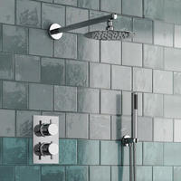 Round Style Concealed Thermostatic Mixer Valve Handheld Bathroom Product Bath Shower Set 2 Dial 2 Way