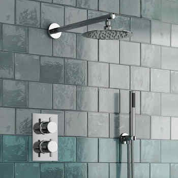 Round Style Concealed Thermostatic Mixer Valve Handheld Bathroom Product Bath Shower Set 2 Dial 2 Way Modern Shower Systems - DISCOUNT ITEM  9% OFF All Category