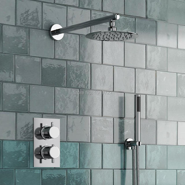 Round Style Concealed Thermostatic Mixer Valve Handheld Bathroom Product Bath Shower Set 2 Dial Way
