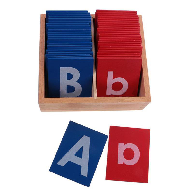 Wooden Montessori Alphabets Card Letter A-Z a-z for Kids Education Learning Toys