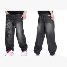 Бесплатная доставка 2016 новых Европейских и Американских хип-хоп вышивка печати большой размер мужчины скейтборд брюки джинсы Дешевые оптовые