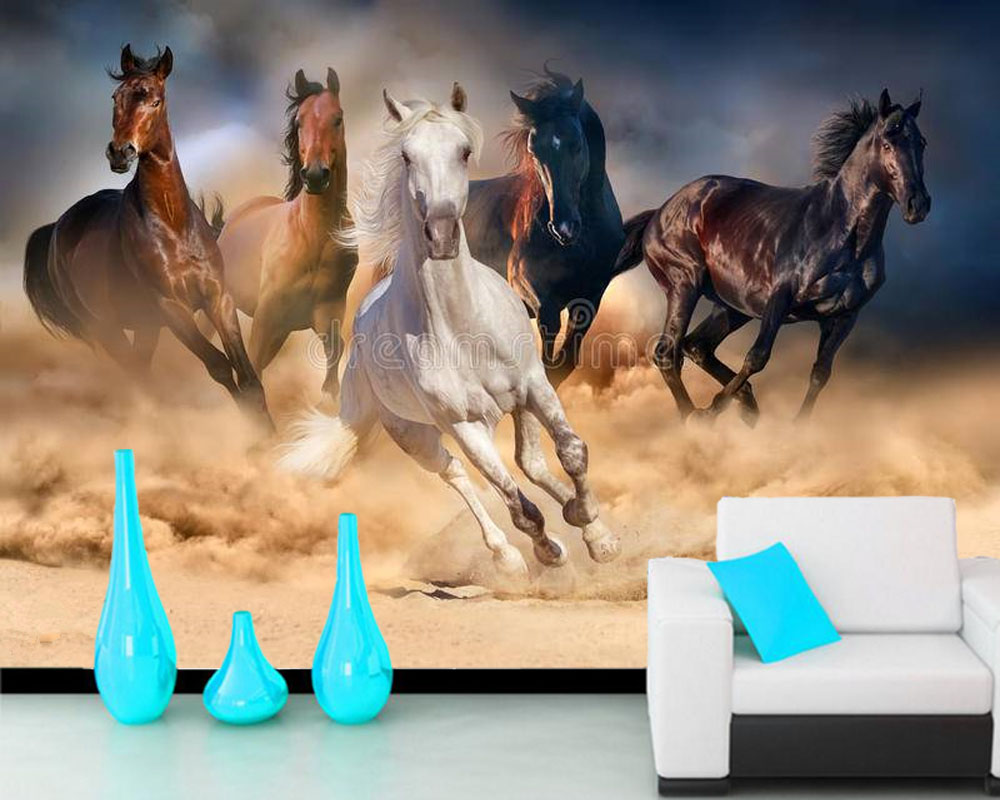 Cheval troupeau courir animal 3D papier peint papel de parede, salon TV canapé mur chambre papiers muraux décor à la maison restaurant mural
