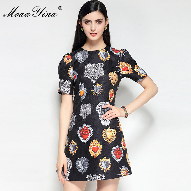 MoaaYina 2018 High Quality Fashion Designer Runway Dress Spring Women Puff Sleeves Jacquard Floral Print Casual Vintage Dress in Dresses from Women 39 s Clothing