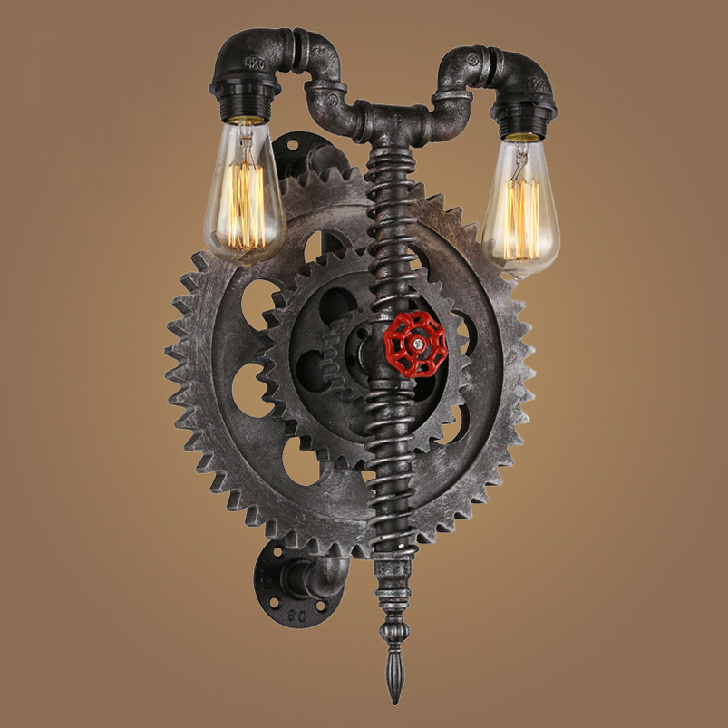 Retro loft wall lamp vintage gear water pipe light restaurant living room bedroom aisle cirrodor bar club cafe wall sconce bra steampunk loft 4 color iron water pipe retro wall lamp vintage e27 e26 sconce lights for living room bedroom restaurant bar