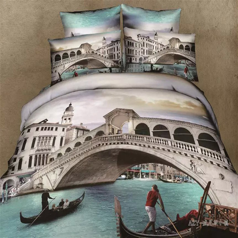 Unique Printing 3D City Venice Boat Yacht Bedding Set Queen Size Bed Sheet  Duvet Cover Sets Cotton Textile Bedroom Sets 4pcs In Bedding Sets From Home  ...