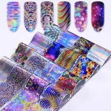 16 Pcs Irregular Gradient Maze Nail Foil Square Starry Sky For Manicure Paisley Flower DIY Nail