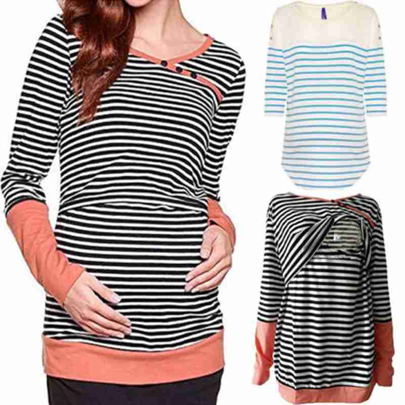 Women Casual Patchwork Striped Pregnant Long Sleeve Tops Maternity Clothes Nursing Breastfeeding Cotton Blouse