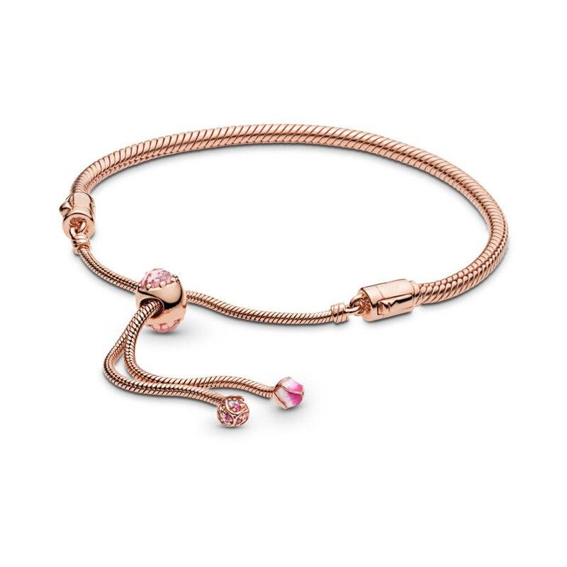 Rose Doré Coulissante Bracelets pour femme et Hommes Mode Bijoux En Argent Sterling bracelet à breloques Fines bricolage Femmes Bracelets Perlés
