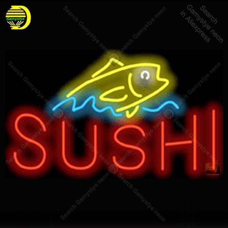 Enseigne au néon pour Sushi avec poisson néon Tube signe artisanat Commercial fenêtres néon lampe de poche signe décorer bière pub salle Letrero