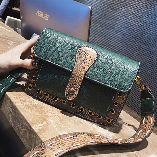 ETAILL 2018 Pu Leather Snakeskin Shoulder Bag Rivet Female Simple Luxury  Brand Crossbody Bags Colorful Wide Strap Messenger Bag 150ac6154db75