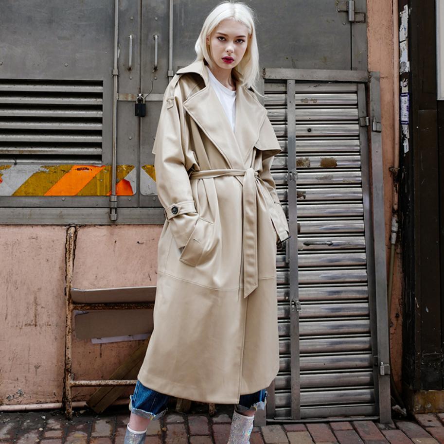 2018 autumn fashion new women PU windbreaker jacket female long coat patent   leather   slim was thin lace up   leather   outwear L1194