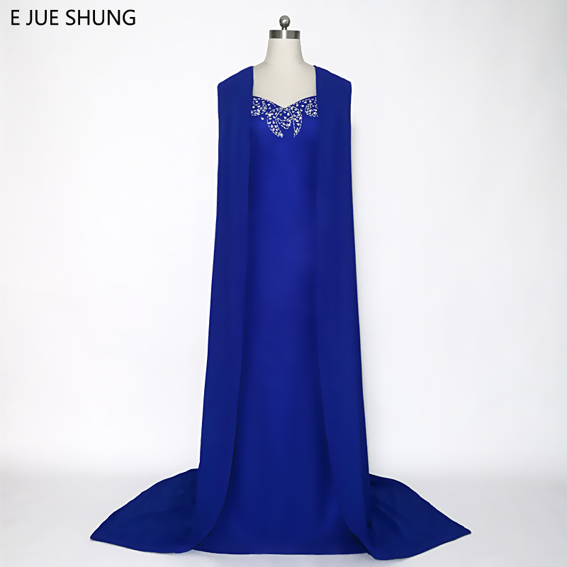E JUE SHUNG Royal Blue Arabic Mermaid Evening Dresses With Cape Silver Beaded Long Sleeves Luxury