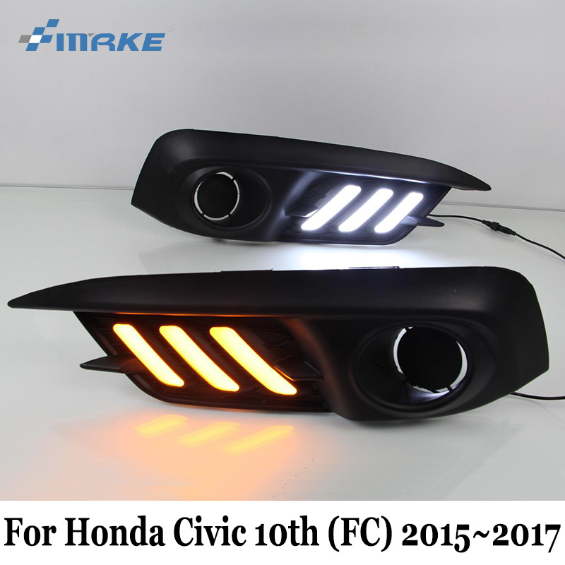 SMRKE DRL For Honda Civic 10th (FC) 2015~2017 / Car Daytime Running Lights With Fog Lamp Frame / Day Driving Lamp Car Styling neo chrome rear lower control arm lca for honda civic 2001 2005 e2c