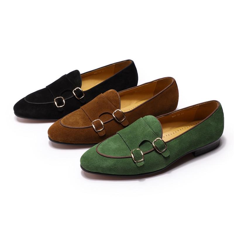 Модные дизайнерские Замшевые мужские лоферы; цвет черный, коричневый, зеленый; повседневные модельные туфли для свадебной вечеринки; мужские туфли с ремешком; размеры 39 46 - 2