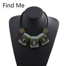 Find Me, новая мода, цепочка на свитер, массивное ожерелье и подвески, геометрический кожаный воротник, колье, ожерелье для женщин, ювелирные изделия