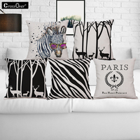 Cartoon Style Zebra Patterns Cotton Linen Cushion Cover Creative Throw Pillows Home Car Sofa Decorative Pillow