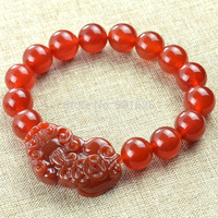 Rarely 12mm Red Beads with Red Pi Xiu Brave Troops Elastic Bracelet fashion Stretch Bracelets Bangle