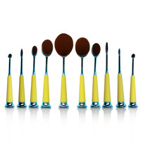 10 PCS New Arrival Oval Toothbrush Makeup Brush Set Plastic Cement Handle Soft Wool Beauty Cosmetic