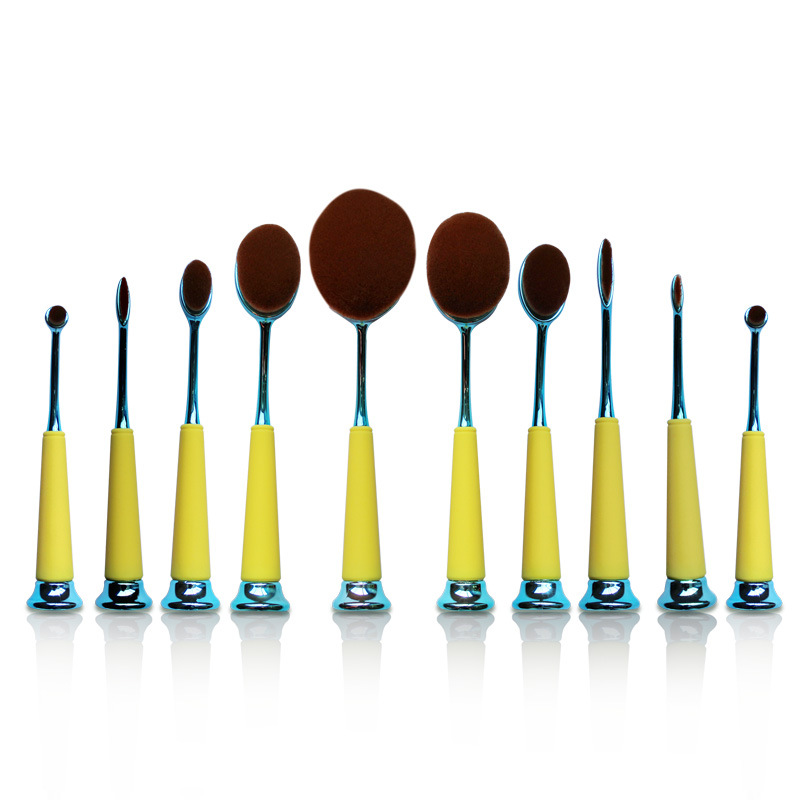 10 PCS New Arrival Oval Toothbrush Makeup Brush Set Plastic Cement Handle Soft Wool Beauty Cosmetic Makeup Brush Good Quality brand new plastic brush