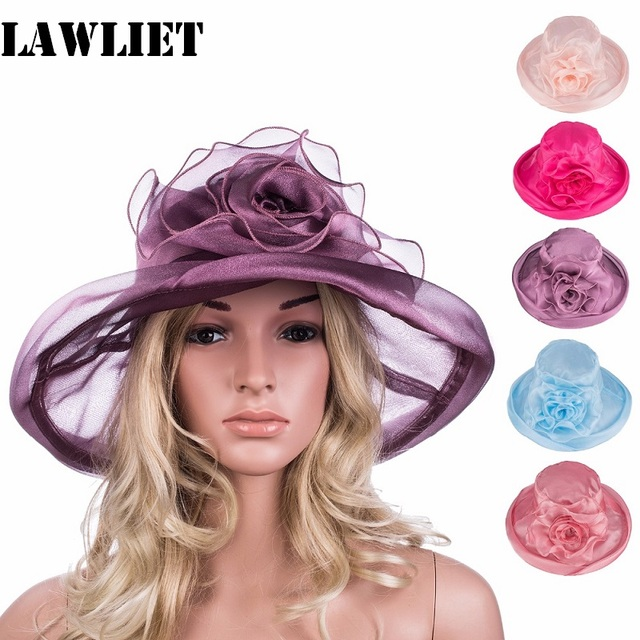 2017 Brand Caps Girl Summer Straw beach Sun Hats Women Sexy Organza Simple Floral Hat Pure ColorA339