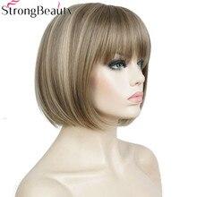 Forte beleza bob perucas sintéticas curto reta cosply peruca para mulher 10 polegadas