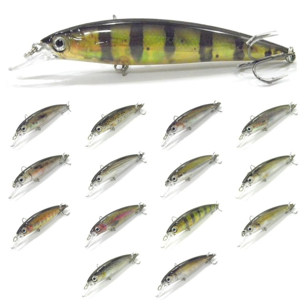 wLure Fishing Lure 15g 11cm Minnow Inner Reflection Foil RealSkin Painting Weight Transfer System 2X Strong Treble Hooks HM600