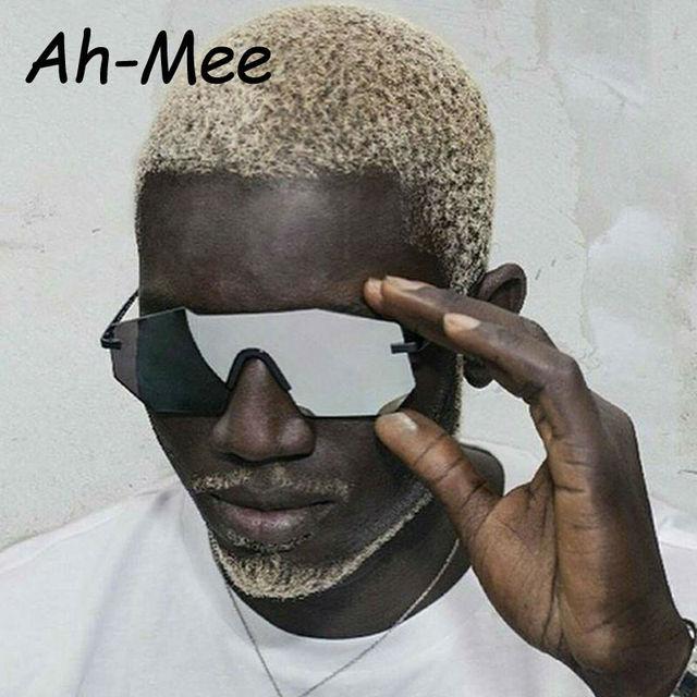 Classique Sans Monture lunettes de Soleil Homme Marque Designer Grand siz  Mâle lunettes de Soleil Miroir 5e78cc344a56