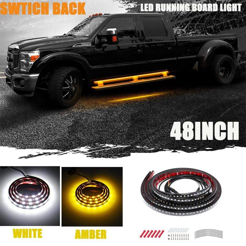 """48/"""" Amber//White 120 LED Flexible turn signal running Truck board strip Light Bar"""
