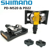 SHIMANO PD M520 Bicycle Pedals MTB Mountain Bike Self Locking Pedal With SPD SM SH51 Cleat Set & SM PD22 Bicycle Parts PD M520