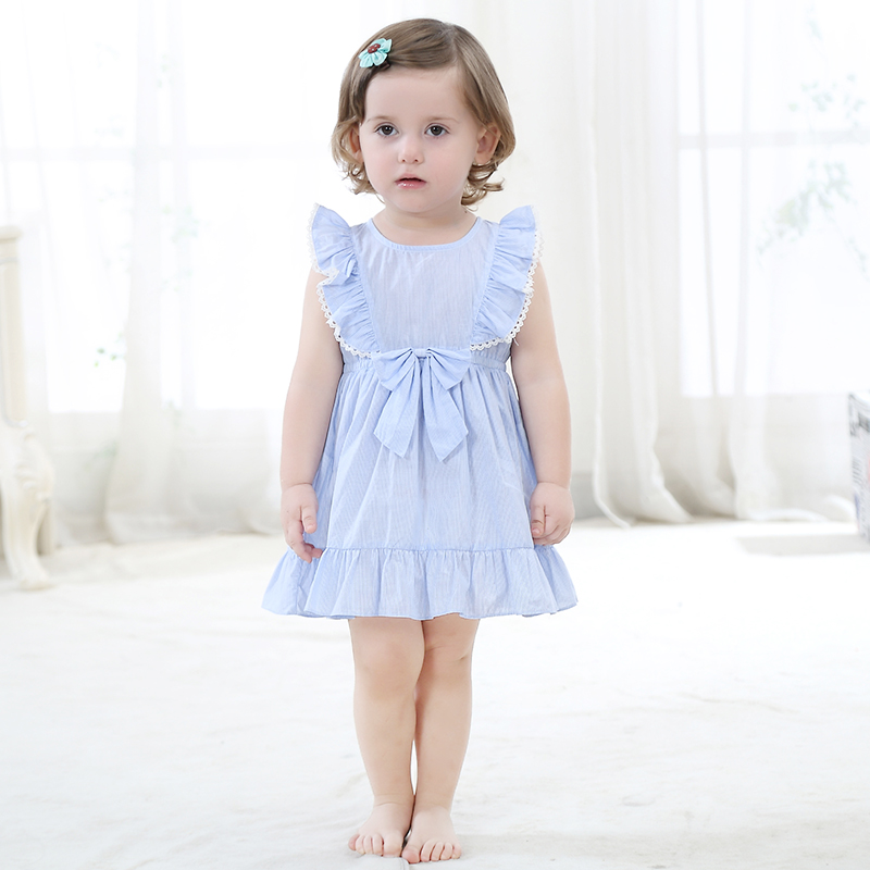 summer cotton ruffles princess dresses for baby girls