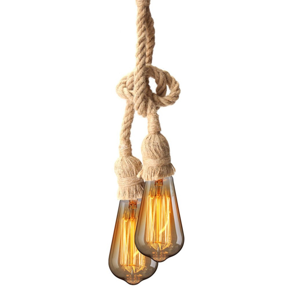 E27 Industrial Pendant Lamp Double Head Vintage Edison Rope Ceiling Home Restaurant Themed Decor Hemp Rope