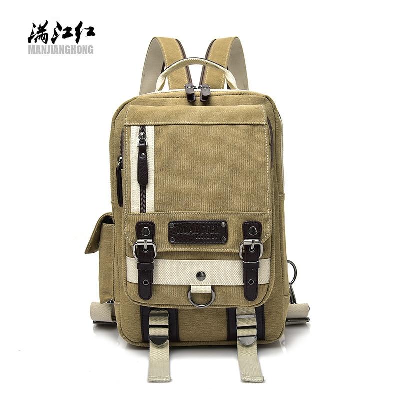 2018 new canvas bag leisure men's chest single-shoulder portable fashion multi-zip men's bags wholesale manufacturers 5