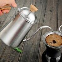 ยาวแคบหม้อกาแฟคอห่านพวยกาต้มน้ำที่มีมือจับไม้เทกว่าหยดหม้อสแตน
