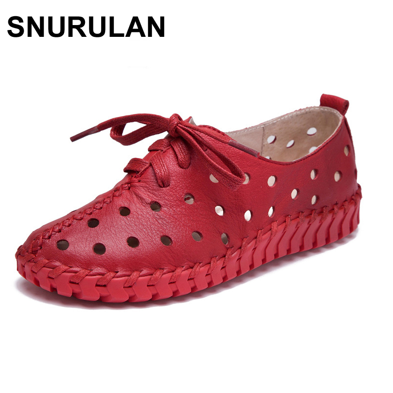 SNURULAN Spring and summer new genuine leather shoes women hollow female Lace genuine leather flats women shoes casual shoes new 28 color casual boot genuine leather flats shoes shoelace shoes boot lace shoes strap shoeslaces 500pairs lot via dhl ems