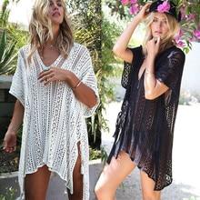 Beach Cover Up Bikini Crochet Knitted Tassel Tie Beachwear Summer Swimsuit Cover Up Sexy See-through Beach Dress цена 2017