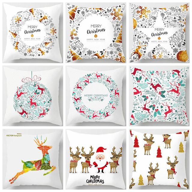 Fibra di poliestere Let It Snow Stile di Natale Fodere per Cuscini Buon Natale B