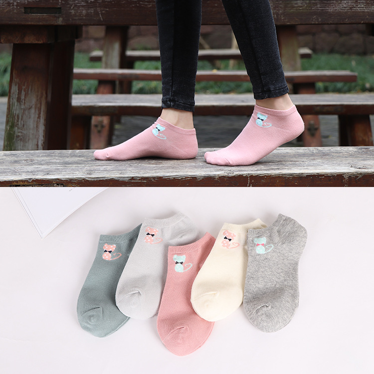 Women Funny Socks Casual Boat Low Cut Cute Cats Faces Cotton Short Ankle Socks Crew Hot New
