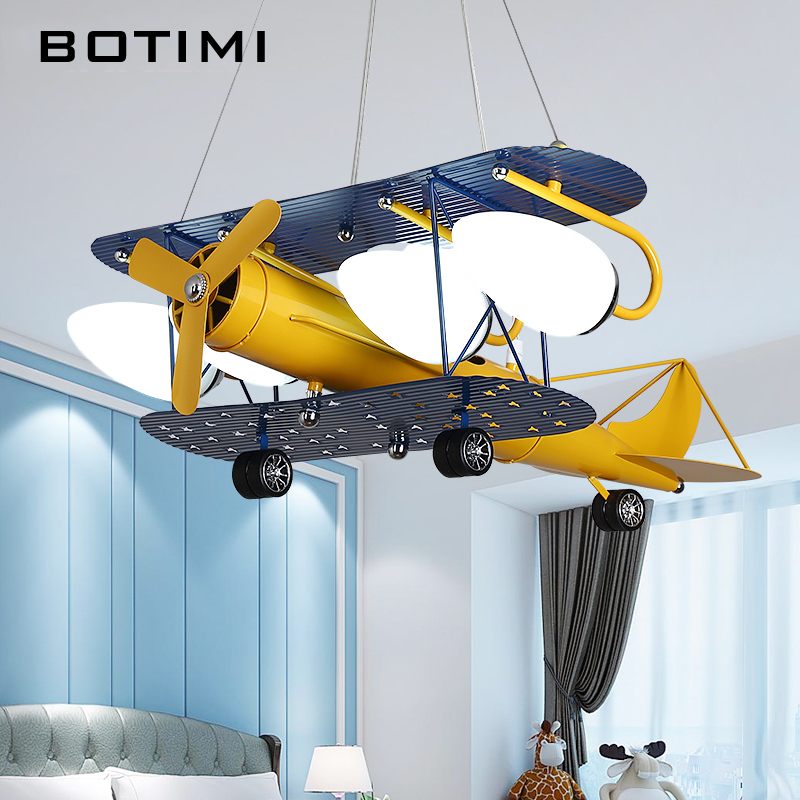 BOTIMI Cartoon LED Pendant Lights For Bedroom Boys Hanging Lamp Kids Pendant Lamps Airplane HangLamp Children Lighting Fixtures image
